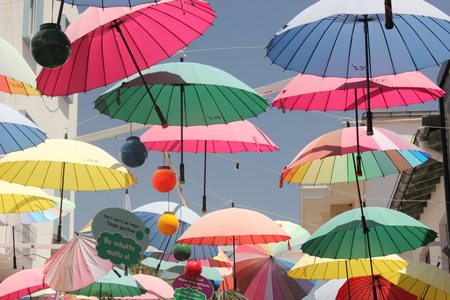 fethiye: Artistic umbrellas along the streets of fethiye in turkey