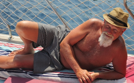 englishman: An englishman with a beard while on vacation in turkey,2015 Stock Photo