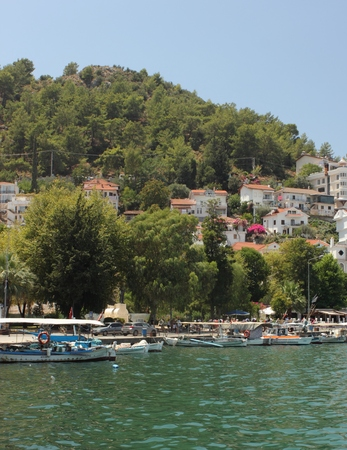 fethiye: FETHIYE,TURKEY,,29th JULY 2015:  Boats for hire moored along the old port of Fethiye on a sunny day in Turkey, 29th july 2015