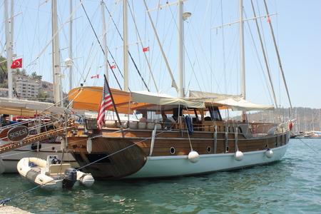 fethiye: FETHIYE, TURKEY,JULY 2015: Pleasure boats moored in the port of Fethiye in Turkey, july , 2015