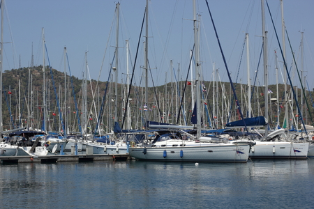 motorboats: FETHIYE, TURKEY, 4TH AUGUST 2015: Yachts and motorboats moored in the port of fethiye in turkey on the 4th august 2015