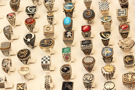 jewlery: Rings of different designs for sale at a local Turkish market in calis, 4th august 2015