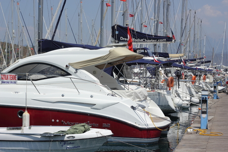 motorboats: Yachts and motorboats moored in the fethiye marina in turkey, august 2015 Editorial
