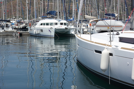 fibreglass: Yachts and motorboats moored in the fethiye marina in turkey, august 2015 Editorial