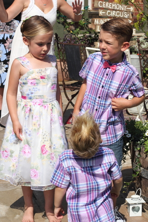smartly: Three young children smartly dressed during the summertime