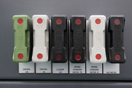 rated: A row of different rated industrial fuses