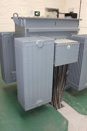 sub station: An industrial electricity transformer in a sub station