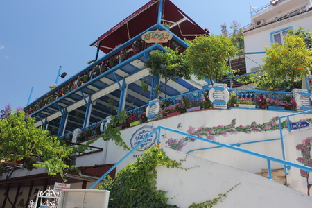 fethiye: FETHIYE, TURKEY, 27TH MAY 2016: A resturant built into the mountainside in fethiye , turkey,27th may 2016