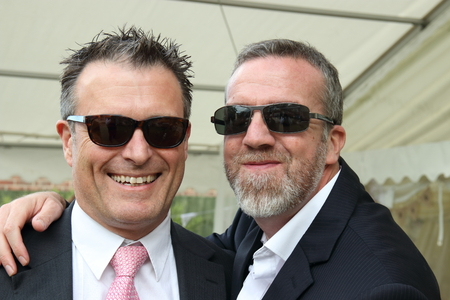 englishman: 2ND JULY 2016,PORTSMOUTH,ENGLAND: Two English men wearing sunglasses and suits for a wedding in Portsmouth, England, 2nd july 2016 Editorial