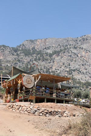 shack: 29TH JULY 2016, KABAK,TURKEY; A shack looking bar on the mountain side at kabak in turkey, 29th july 2016