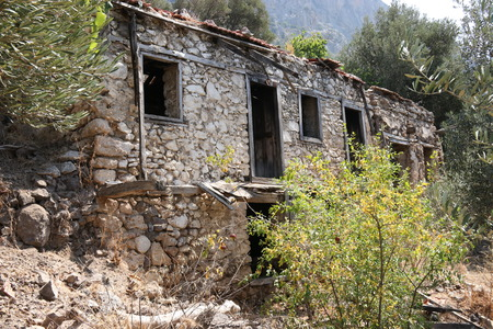 Old ruins of a house on the mountainside at Kabak in Turkey, 2016