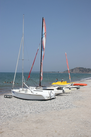 1ST AUGUST 2016,CALIS,TURKEY: Sailing craft on the beach at Calis in Turkey,  1st august 2016