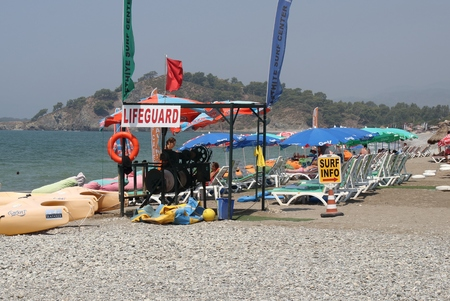 31st: 31ST JULY 2016,CALIS, TURKEY: A lifeguard station along Calis beach in Turkey,31st july 2016