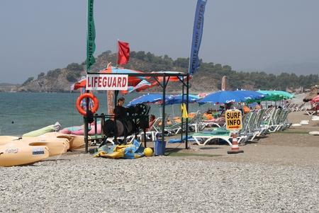 challis: 31ST JULY 2016,CALIS, TURKEY: A lifeguard station along Calis beach in Turkey,31st july 2016
