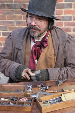 role model: 26TH NOVEMBER 2016, PORTSMOUTH DOCKYARD, ENGLAND:An unknown actor playing the part of a victorian gentleman at the yearly Christmas victorian festival in portsmouth dockyard,england,26th november 2016
