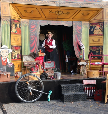 travelled: 26TH NOVEMBER 2016, PORTSMOUTH DOCKYARD, ENGLAND:A Victorian travelling showman at the yearly Christmas Victorian festival in Portsmouth, England, 26th November 2016