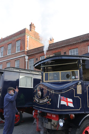 victorian christmas: 26TH NOVEMBER 2016, PORTSMOUTH DOCKYARD,ENGLAND; A steam driven vehicle on show at the yearly Victorian Christmas festival in Portsmouth dockyard, England, 26th November 2016