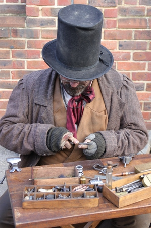 26TH NOVEMBER 2016, PORTSMOUTH DOCKYARD, ENGLAND:An unknown actor playing the part of a victorian gentleman at the yearly Christmas victorian festival in portsmouth dockyard,26th november 2016 Editorial