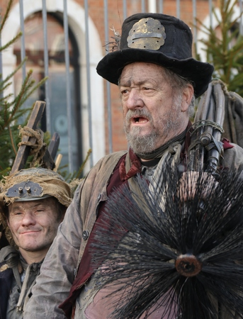 sweeps: 26TH NOVEMBER 2016,PORTSMOUTH DOCKYARD, ENGLAND : Unknown actors playing the parts of victorian chimney sweeps at the yearly Christmas victorian festival in portsmouth dockyard, November 26th, 2016