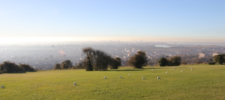The city of portsmouth viewed from portsdown hill north of the city, 2016 Stock Photo