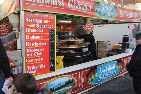 hants: 26TH DECEMBER 2016, WICKHAM,HANTS: A german sausage vendor at a car show in wickham in Hampshire, 26th December 2016 Editorial