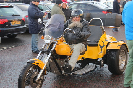 hants: 26TH DECEMBER 2016,WICKHAM,HANTS: An old retro trike at a classic car show in wickham, england on the 26th december 2016