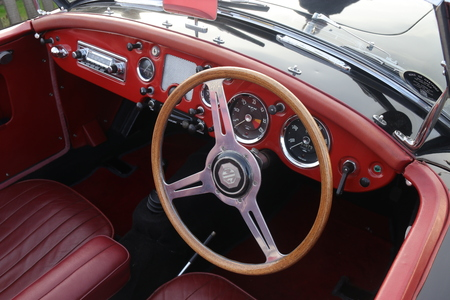 26TH DECEMBER 2016,WICKHAM,HANTS: The interior of an old retro classic car at a show in wickham, england on the 26th december 2016 Editorial