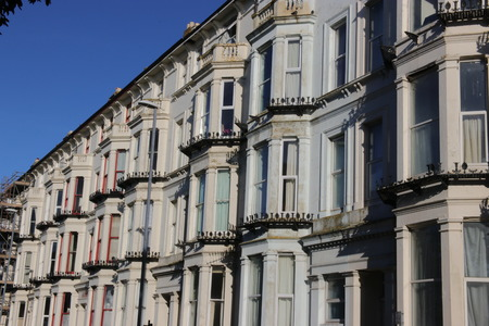 stereotypically: 18TH JANUARY 2016, PORTSMOUTH,ENGLAND: Typical Victorian apartment homes in Portsmouth, england, 18th January 2016 Editorial