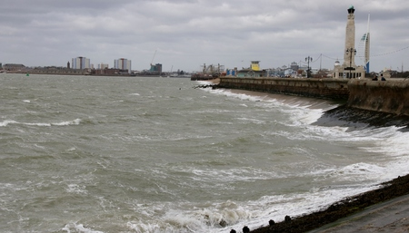 Rough seas along the south coast in Portsmouth, England Stock Photo