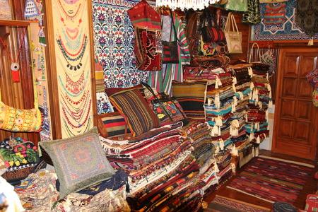 oriental rug: FETHIYE, TURKEY, 31ST MAY 2017:A traditional Turkish carpet shop in fethiye, turkey, 31st may 2017 Stock Photo