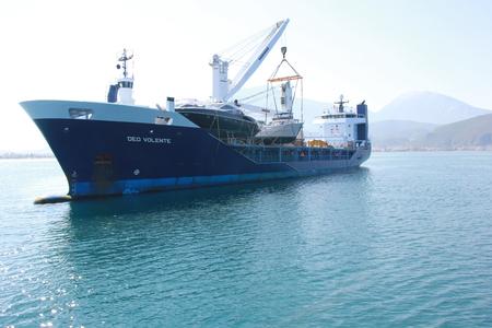 1ST JUNE 2017, FETHIYE, TURKEY : Deo Volente, a boat transporter ship in the bay of fethiye, turkey, 1st june 2017 Editorial