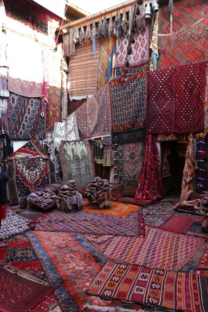 An old traditional Turkish carpet shop in cappadocia, goreme,in turkey