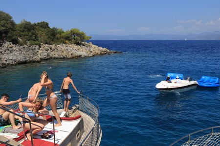 FETHIYE, TURKEY,17th july 2017,: English tourists on a bout trip around the bays of fethiye in Turkey,17th july 2017