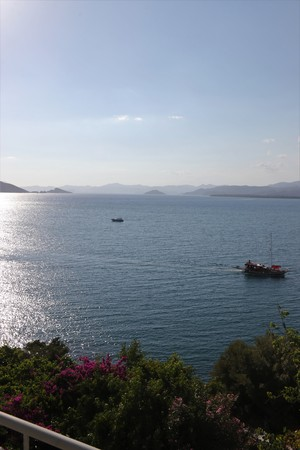 28TH JULY 2017: Boats motoring in the calm waters at, Fethiye in Turkey ,28th July 2017