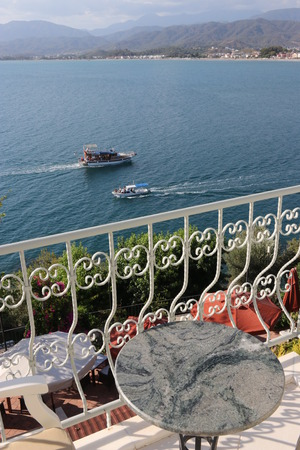 The scenic view looking towards the sea in turkey from a hotel balcony 2017