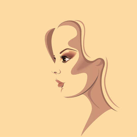 Beautiful girl in profile with pastel colors Illustration