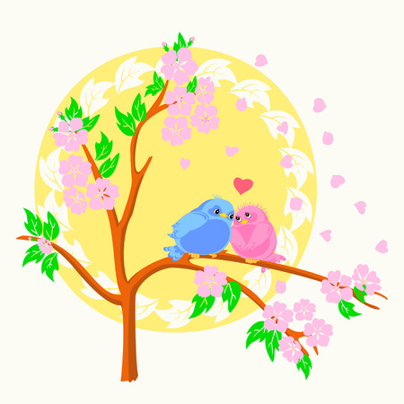 Two birds in love sitting on the branch with the sun on the background