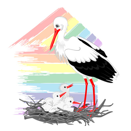 Stork and chicks in the nest on the background of the stylized house Illustration