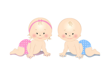Happy smiling little crawling  baby boy and girl Vector