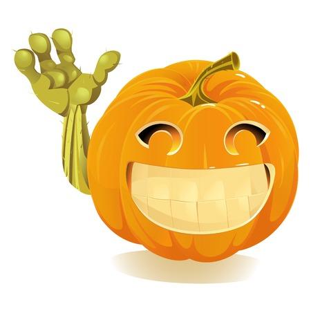 Happy Halloween Pumpkin, Jack O Lantern isolated on white background