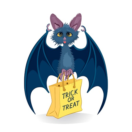 Cartoon bat with Halloween bag Trick or Treat isolated on white background
