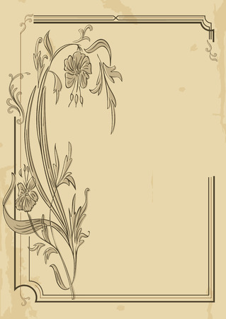 Decorative frame with floral decoration on old paper