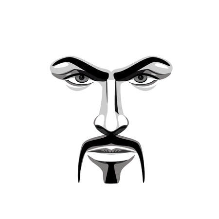masculinity: Face of a man with a mustache Illustration