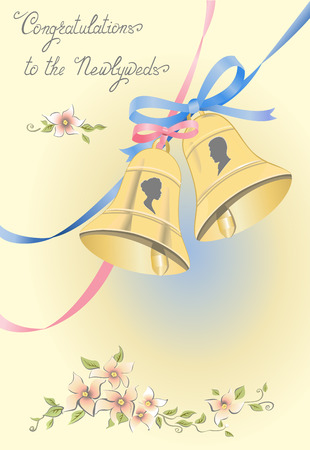 wedding bells: Greeting card with wedding bells, ribbons and newlyweds silhouettes