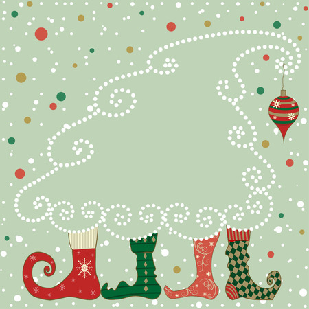 Christmas card with boots and a stylized Christmas tree, where you can put your text