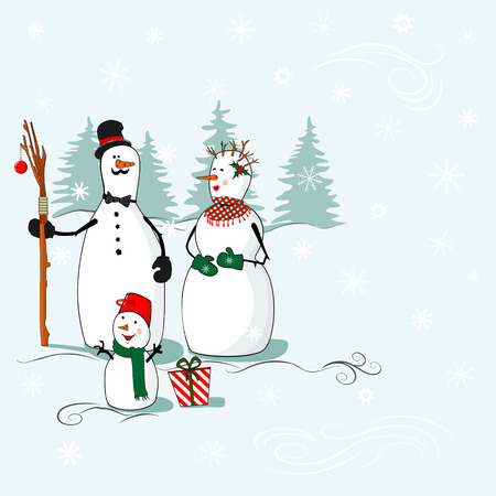 Greeting card with Christmas and New Year with a family of snowmen in the winter background, where you can put your text Vector
