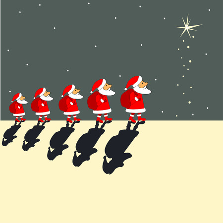 Christmas greeting card with  Santa Clauses, where you can put your text Illustration