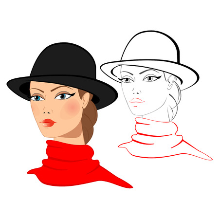 The face of a young woman in a hat, two images: color and outline silhouette Illustration