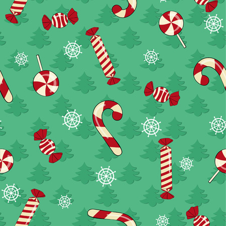 Christmas background with Christmas trees, snowflakes and candy Illustration