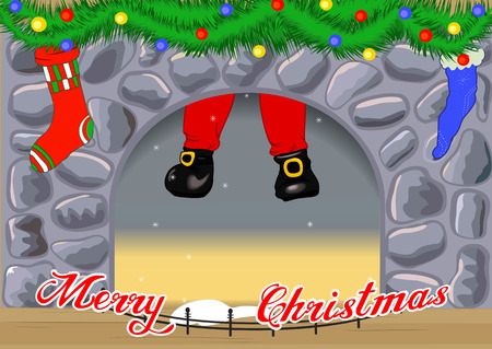 Christmas card with Santa Claus descends from the decorated fireplace Vector